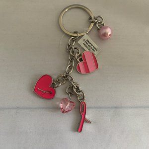 Breast Cancer Crusade Key Chain with Charms Silver
